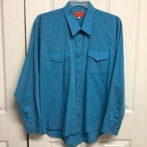 Ely Plains Western Shirt Size XL 17 Blue
